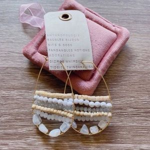 NWT Anthropologie White Beads Hoop Earrings